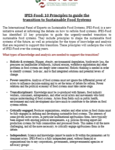 10 principles to guide the transition to sustainable food systems