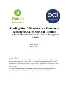 Feeding Nine Billion in a Low Emissions Economy: Challenging, but Possible A Review of the Literature for the Overseas Development Institute